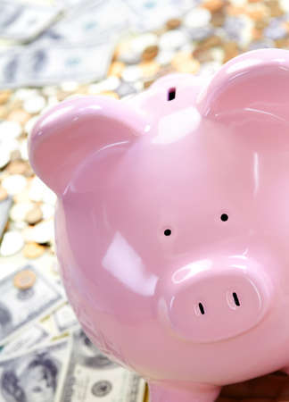 Pig bank and a lot of money coin and bills. Stock Photo - 8428402