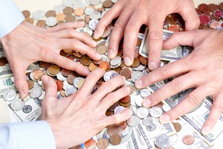 avidity: Business people with cash, money, bills, coins  Stock Photo