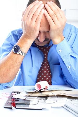 contabilidad: empresario tener estr�s en la Oficina  Foto de archivo