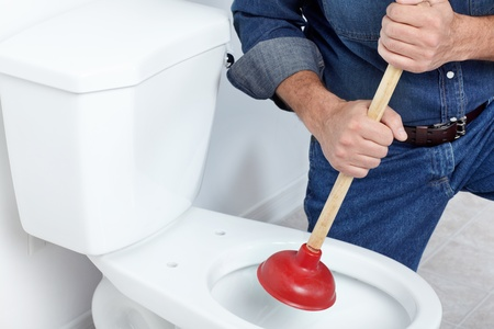 Plumber with a toilet plunger