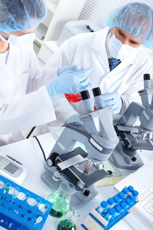 chemical laboratory: Science team working with microscopes in a laboratory