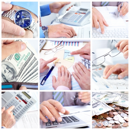 Business people working with documents and calculator Stock Photo - 8499580