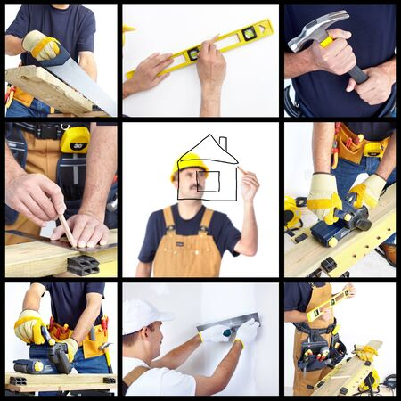 Mature contractor working. Over white background. Worker photo