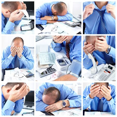 tiredness: Businessman having stress in the office. Problem