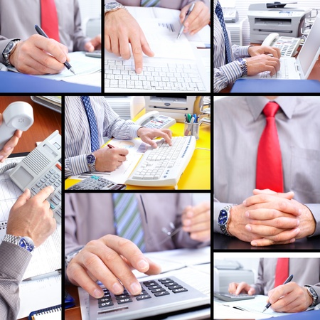 Business people working with documents and calculator photo