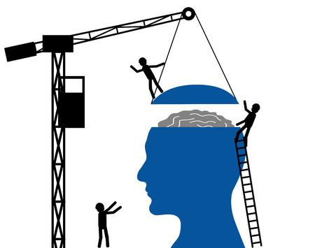 cerebro blanco y negro: Cabeza del hombre sobre un fondo blanco