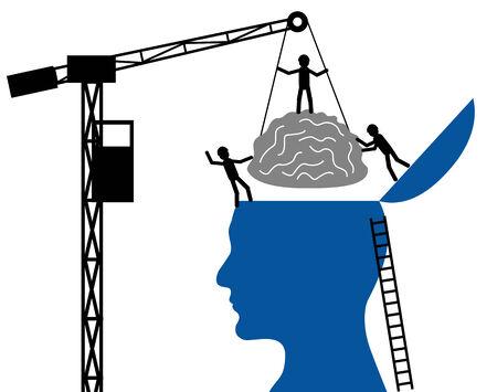 neurology: Head and brain on a white background