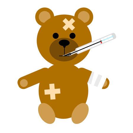 lesiones: El peque�o paciente un oso sobre un fondo blanco