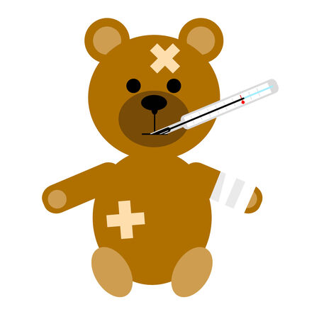 bandage: The small patient a bear on a white background