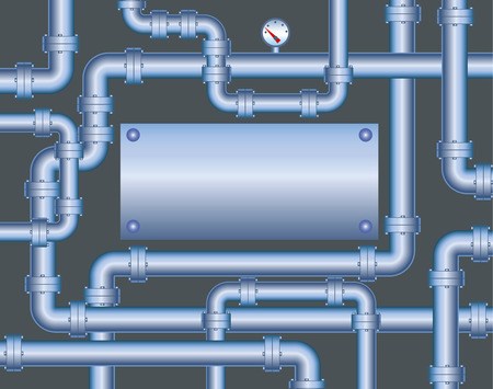 valve: The large steel piping and steel plate Illustration