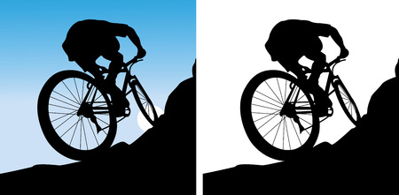 The sportsman on a bicycle leave on a mountain Illustration