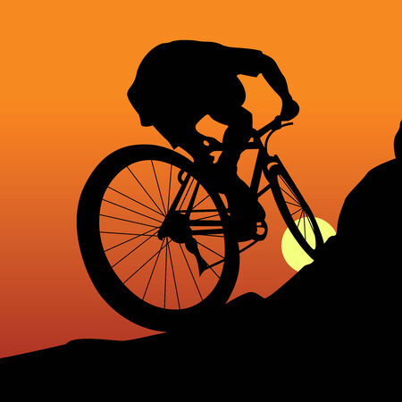 mountain bicycles: The sportsman on a bicycle leave on a mountain Illustration