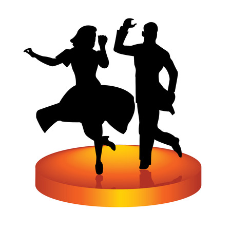 The man and woman dance a jazz