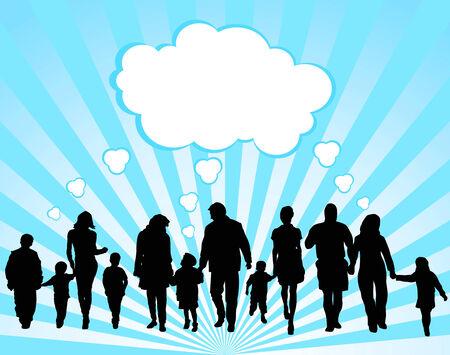 Silhouettes des parents et des enfants sur un fond