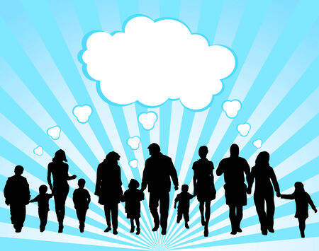 crowd happy people: Silhouettes of the parents and children on a background Illustration