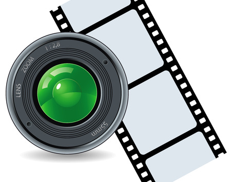 Camera and cinefilm on a white background Illustration