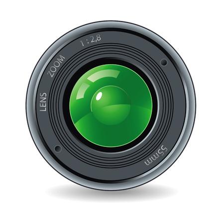 Objetivo de la cámara sobre un fondo blanco