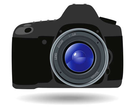 reflex camera: Grey reflex camera on a white background Illustration