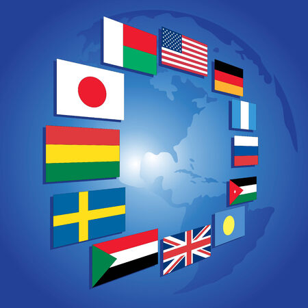 Planet the Earth and set of flags Vector