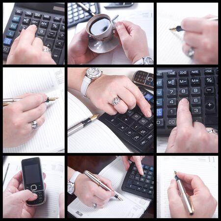 dialing: Trabajar con documentos y calculadora de gente de negocios