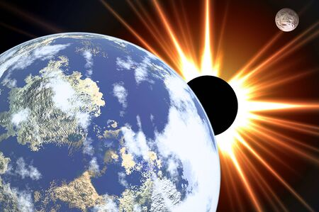 The Earth. Planets and solar eclipse in cosmos photo