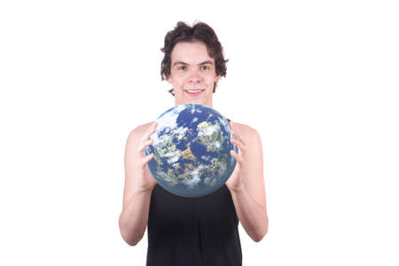 The boy holds the Earth on a white background photo