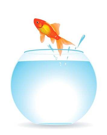 goldfish jump: The gold fish jumps out of an aquarium Illustration