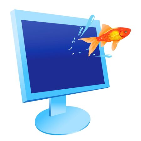 gold fish: The gold fish jumps out from the monitor Illustration