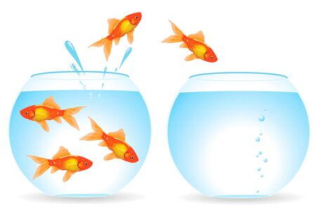 business jump: Migration of fishes from an aquarium in an aquarium Illustration