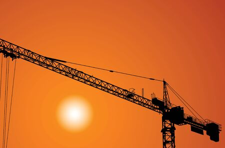 The elevating crane on construction of a building Vector