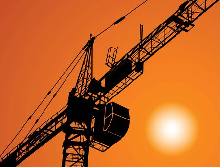 immovable property: Industry. Silhouette of the crane on construction of a building Illustration