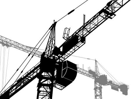immovable property: Construction of a building. Silhouettes of the cranes Illustration