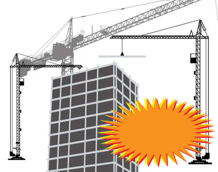 Banner and silhouette of the crane on construction Vector
