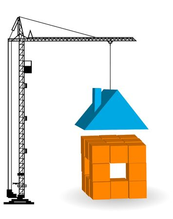 housetop: Construction of a building. Silhouettes of the cranes  Illustration