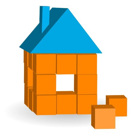housetop: The house from bricks on a white background Illustration
