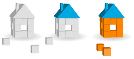 immovable property: Set of houses from bricks on a white background Illustration