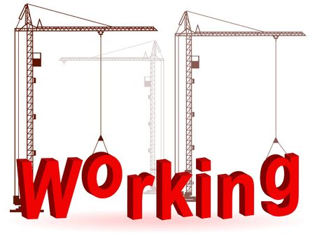 immovable property: Silhouette of the crane on construction of a word  Illustration