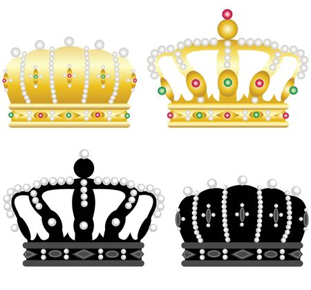 ruby: Four beautiful crowns on a white background