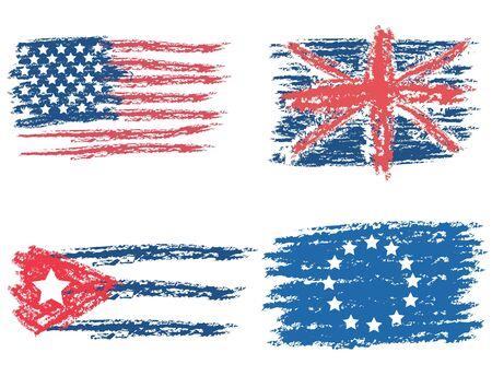 bandera cuba: Banderas de un pincel y pintura Vectores