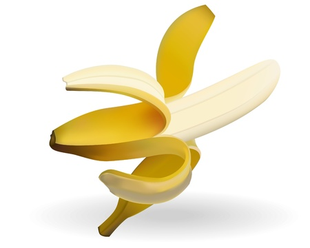 illustrierte: Banane und Schatten auf wei�em Hintergrund