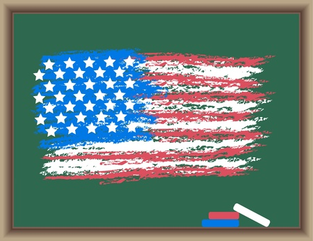 The drawn flag of USA on a blackboard Vector