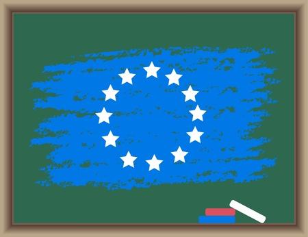uno: The drawn flag of Europe on a blackboard