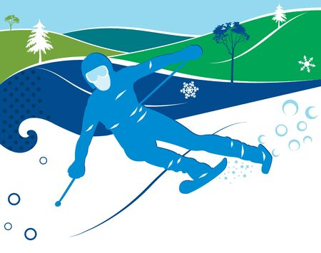 downhill skiing: The skier on a ski is lowered from a mountain Illustration