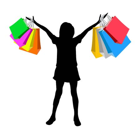 boutique shop: Silhouette of the girl with bags for purchases
