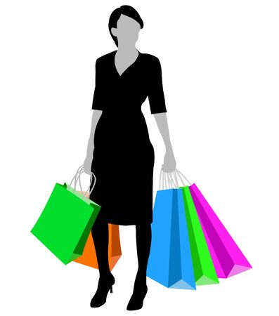 Silhouette of the woman with bags for purchases Vector
