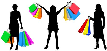Silhouette of the womans with bags for purchases Vector