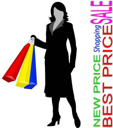 The woman in shop on a white background Vector