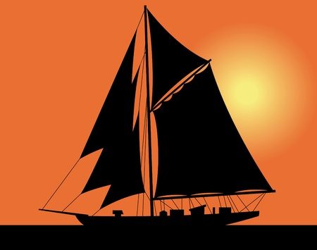 ocean sunset: Black silhouette of a yacht at ocean. Sunset