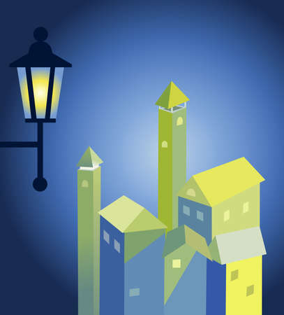 immovable property: The ancient lantern shines in night city Illustration