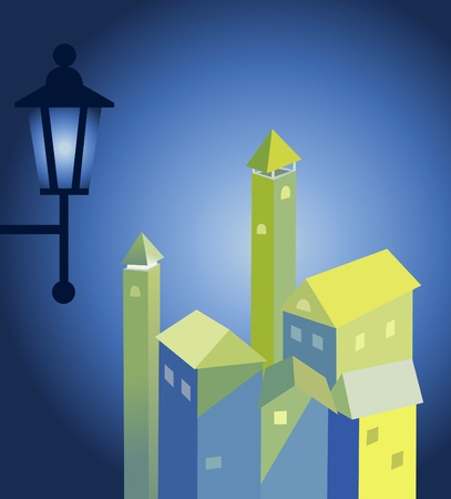 immovable property: The ancient lantern in night city. Night